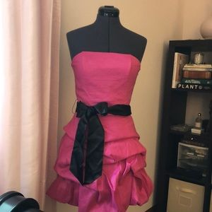 Jessica McClintock Pink & Black Bow Dress SIZE 8